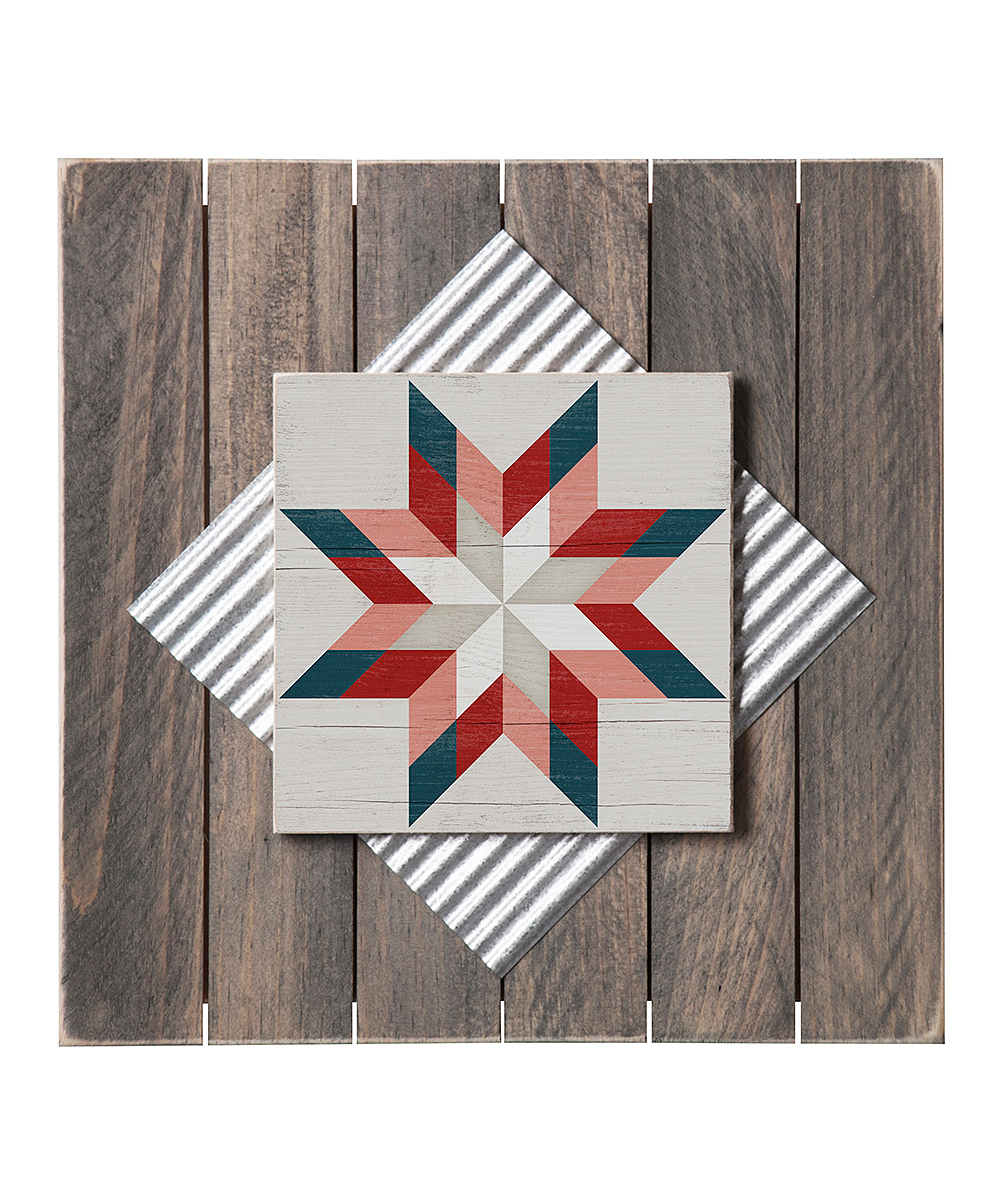 Highland Home Red White Blazing Star Barn Quilt Wood Wall Art