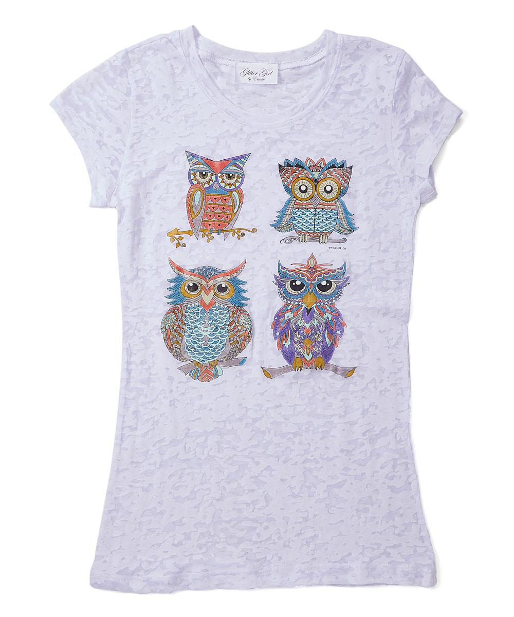 697936e6 Gi Gi Girl White Burnout Owls Appliqué Tee - Girls   Zulily