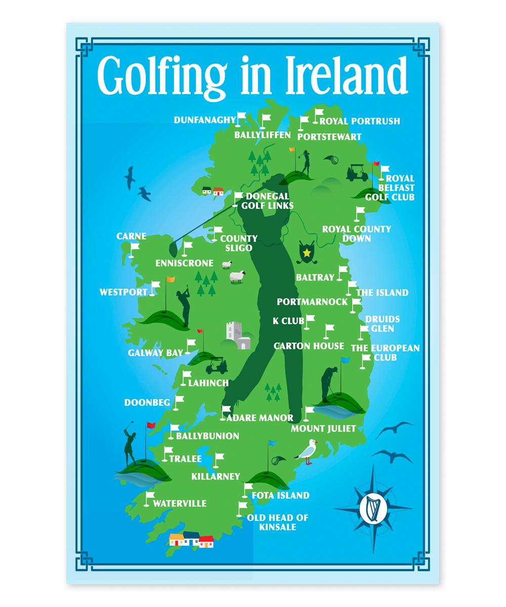 Golf Map Of Ireland.Samuel Lamont Map Golfing In Ireland Linen Union Dish Towel