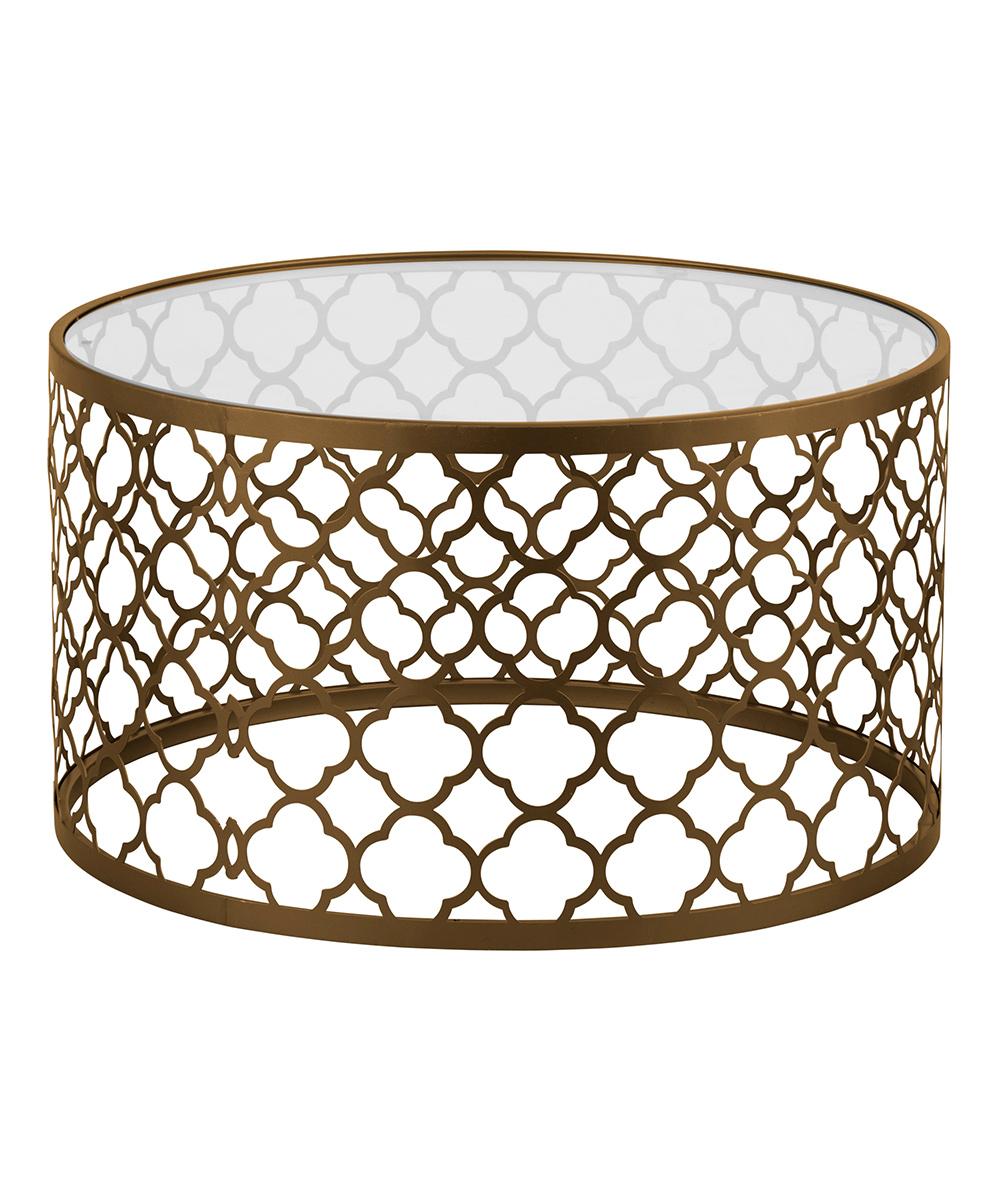 Home Essentials And Beyond Quatrefoil Brass U0026 Glass Coffee Table