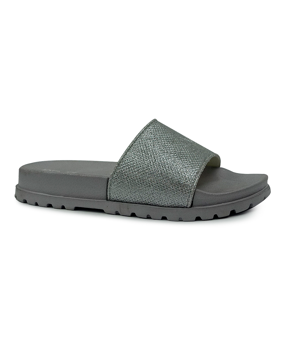 99db7729280c Shoe Box Trading Silver Glitter Slide - Women