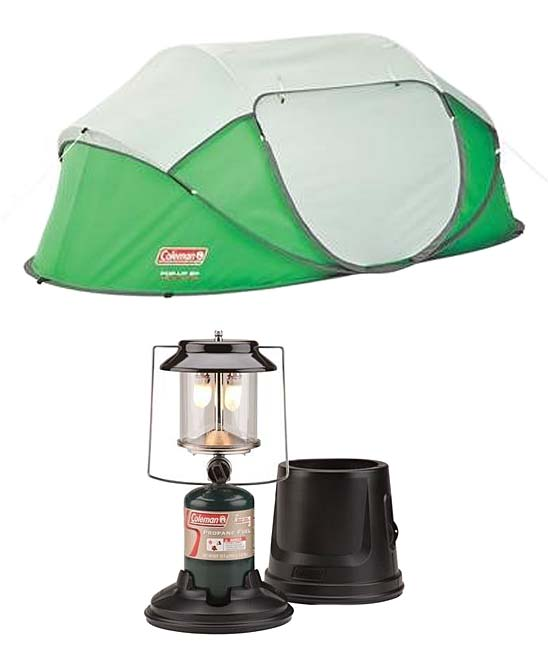 Coleman Green Two-Person Pop-Up Tent & Two-Mantle Propane Lantern