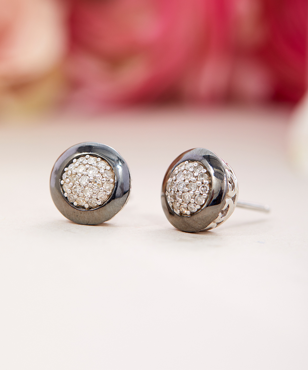 6222b64bbb6a4 Finecraft 0.25-Carat Diamond & Sterling Silver Solid Halo Stud Earrings