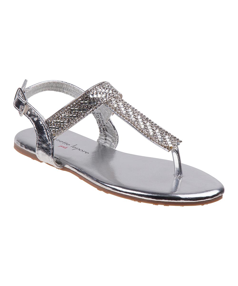 6be1e3031809 Nanette Lepore Girls Silver Rhinestone T-Strap Sandal - Girls