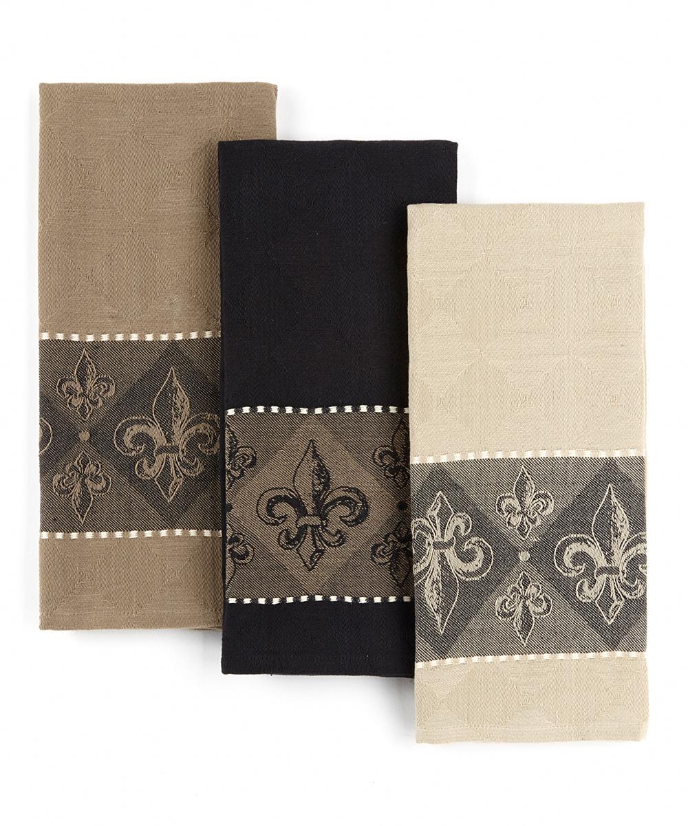 Design Imports Fleur-de-Lis Jacquard Dish Towel Set