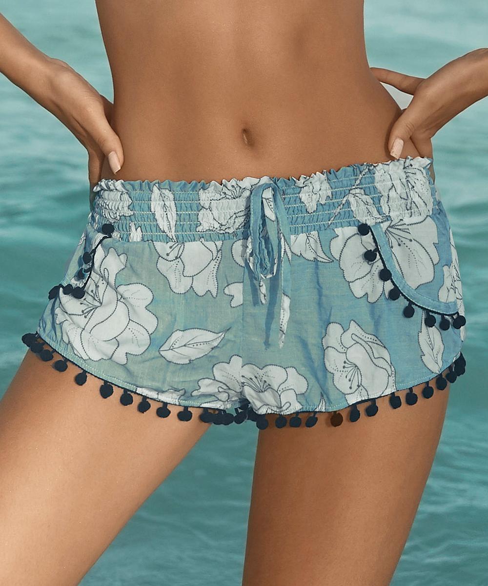 bf29c8323c Light Blue Floral Pom-Pom Cover-Up Shorts - Women