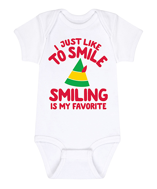 Instant Message White 'Smiling Is My Favorite' Bodysuit - Newborn & Infant
