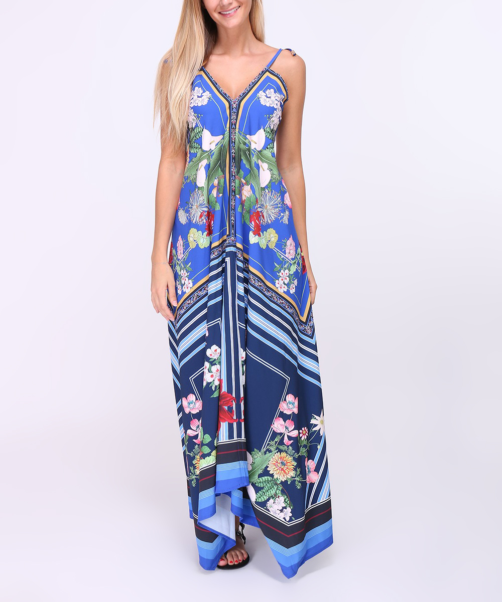 24b7fde914bb Blue & Green Floral Maxi Dress - LakLook