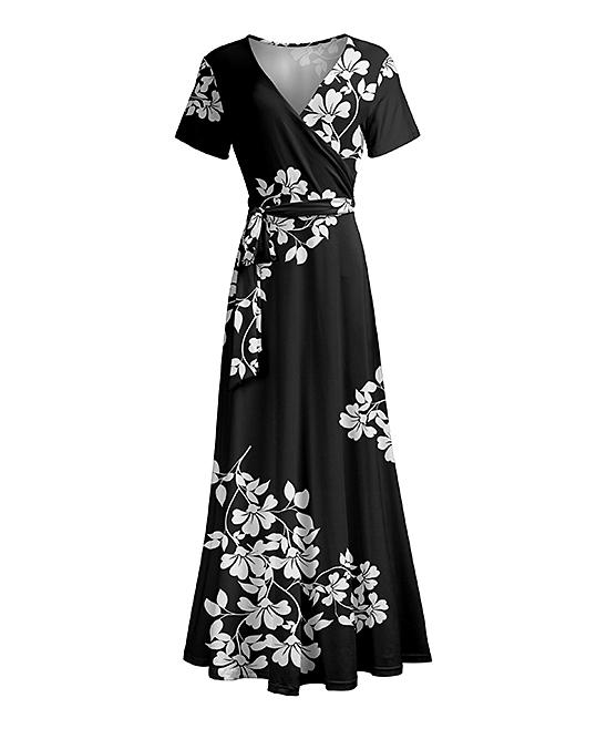 Lily Black & White Floral Wrap Maxi Dress - Women & Plus