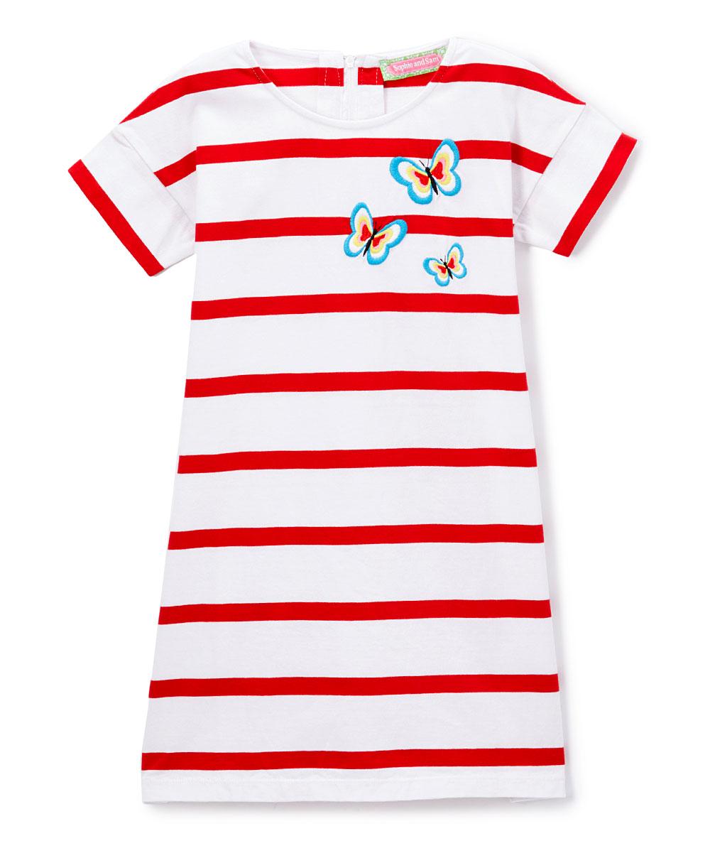 Sophie Sam Red Stripe Butterfly Appliqu Belted T Shirt Dress