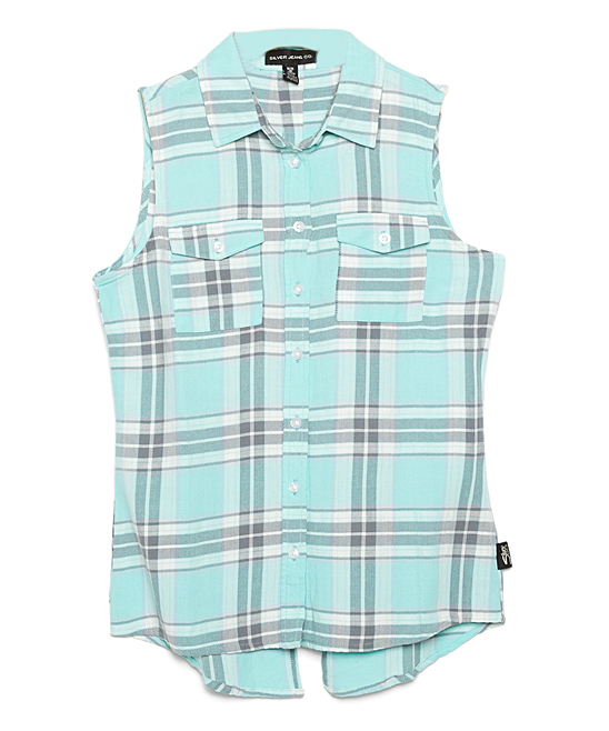 7c056f596 Silver Jeans Co. Mint Plaid Sleeveless Button-Up - Girls | Zulily