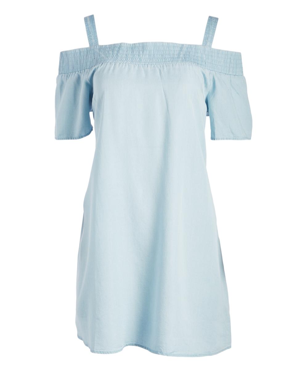 9117b92c7d3 love this product Denim Strap Off-Shoulder Dress - Women