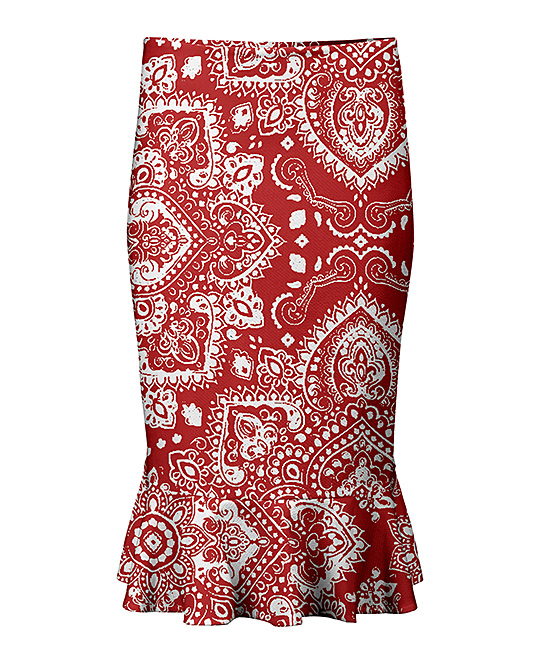 3d68736a9 love this product Red & White Tapestry Ruffle-Hem Pencil Skirt - Women &  Plus