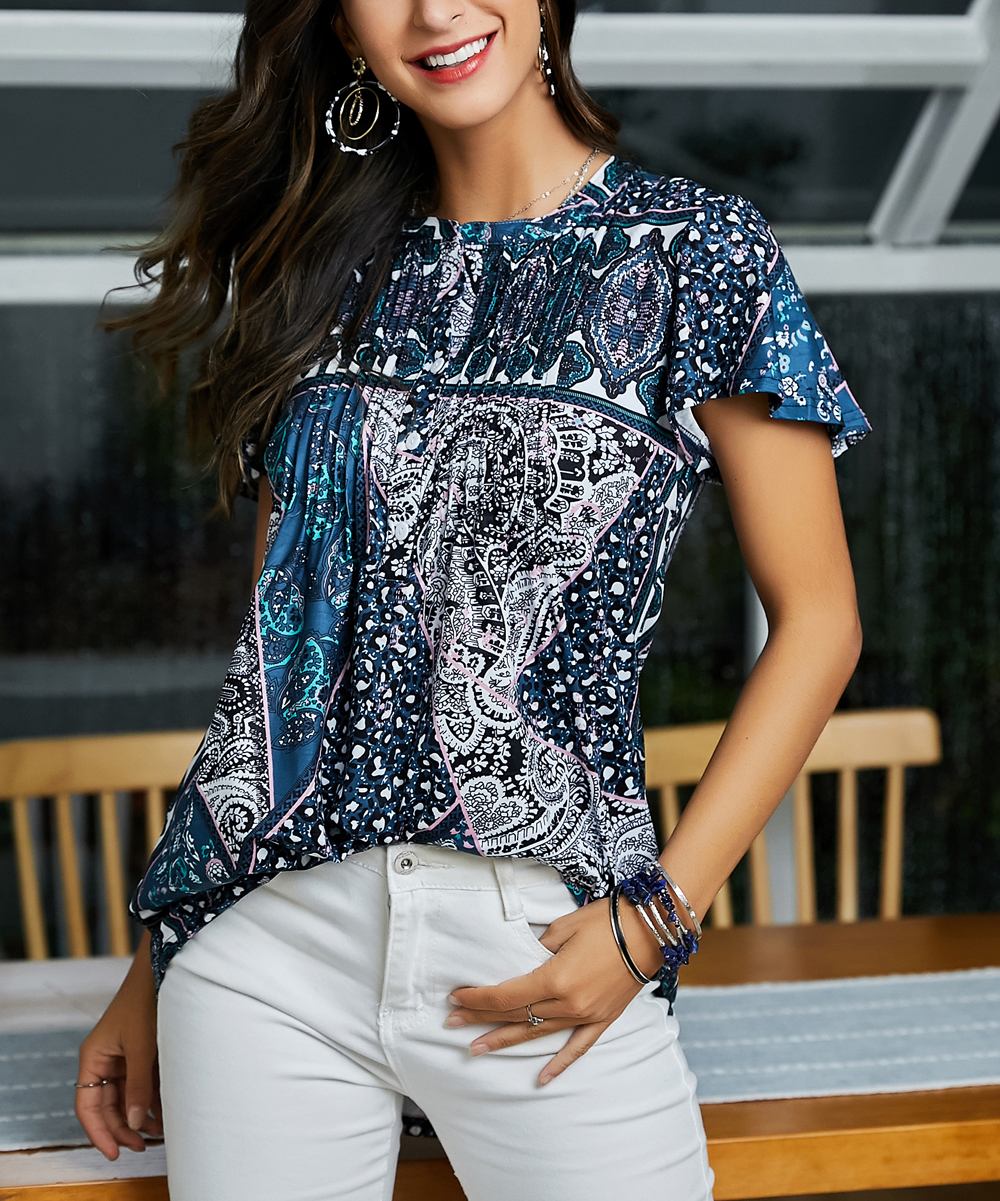 52062d27e Blue & White Abstract Short-Sleeve Notch Neck Pin Tuck Tunic - Women & Plus