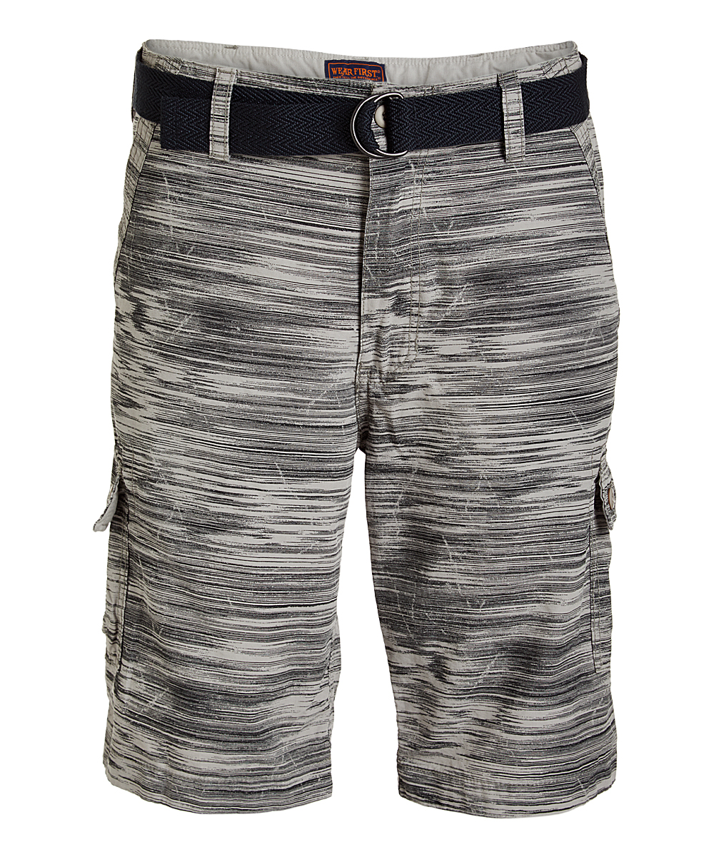 76d7024aa8 Wear First Gray Stripe Belted Cargo Shorts - Men & Big | Zulily