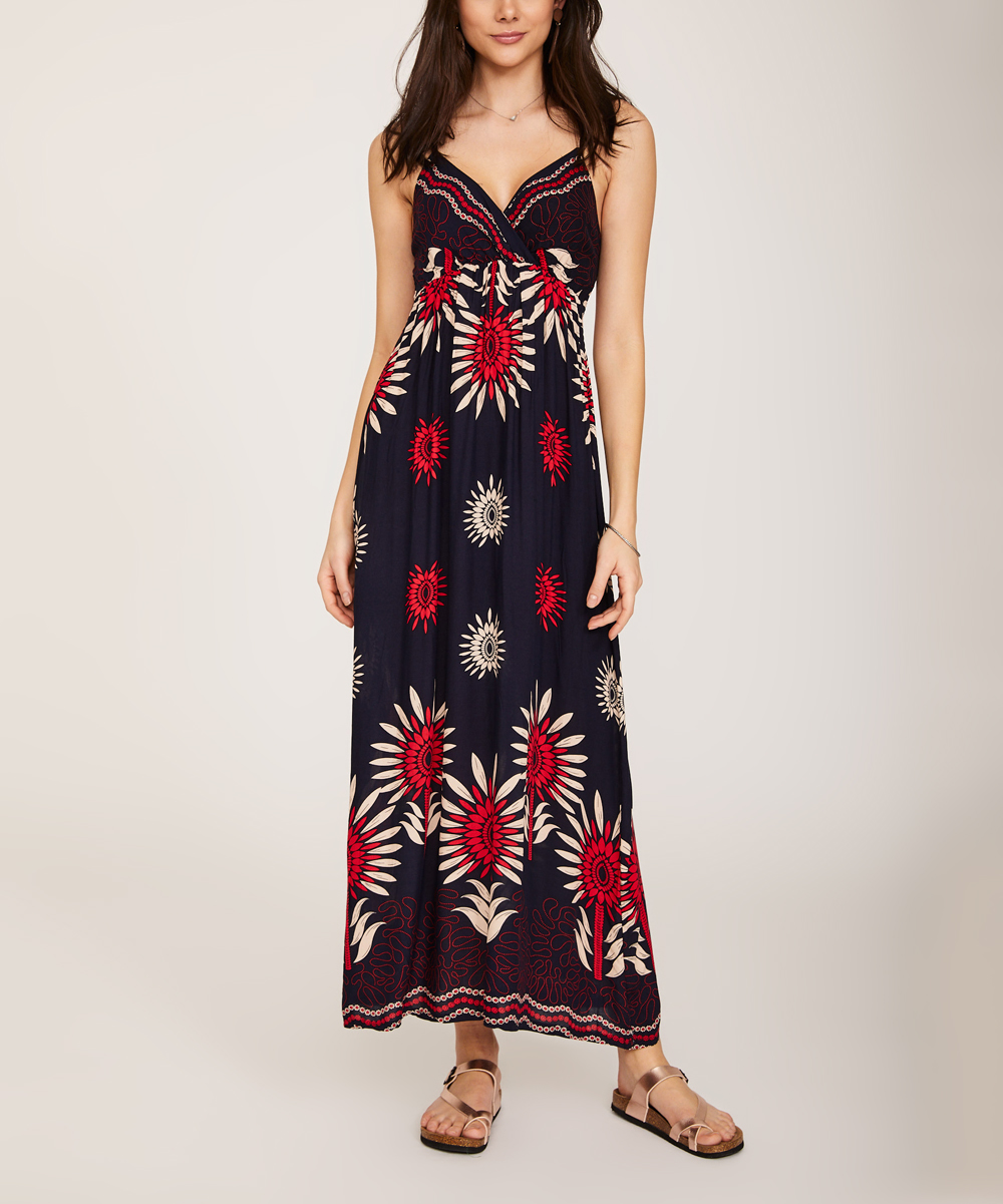 d29f53d061d2 Red Floral Sleeveless Empire-Waist Maxi Dress - Women - KeepKool - Zulily