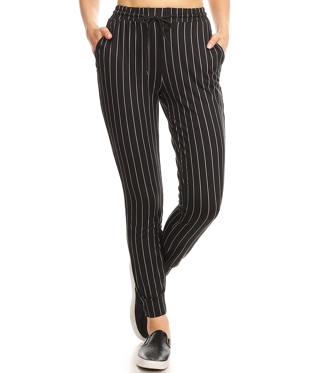 b911027b4 Black & Dark Gray Stripe High-Waist Joggers - Women - Sho Active