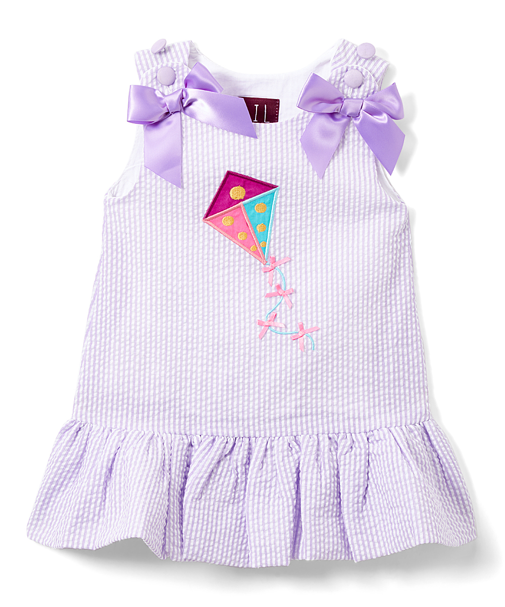 30f395d8b85f0 Lil Cactus Purple Gingham Kite Bow-Accent Sleeveless Dress - Infant,  Toddler & Girls