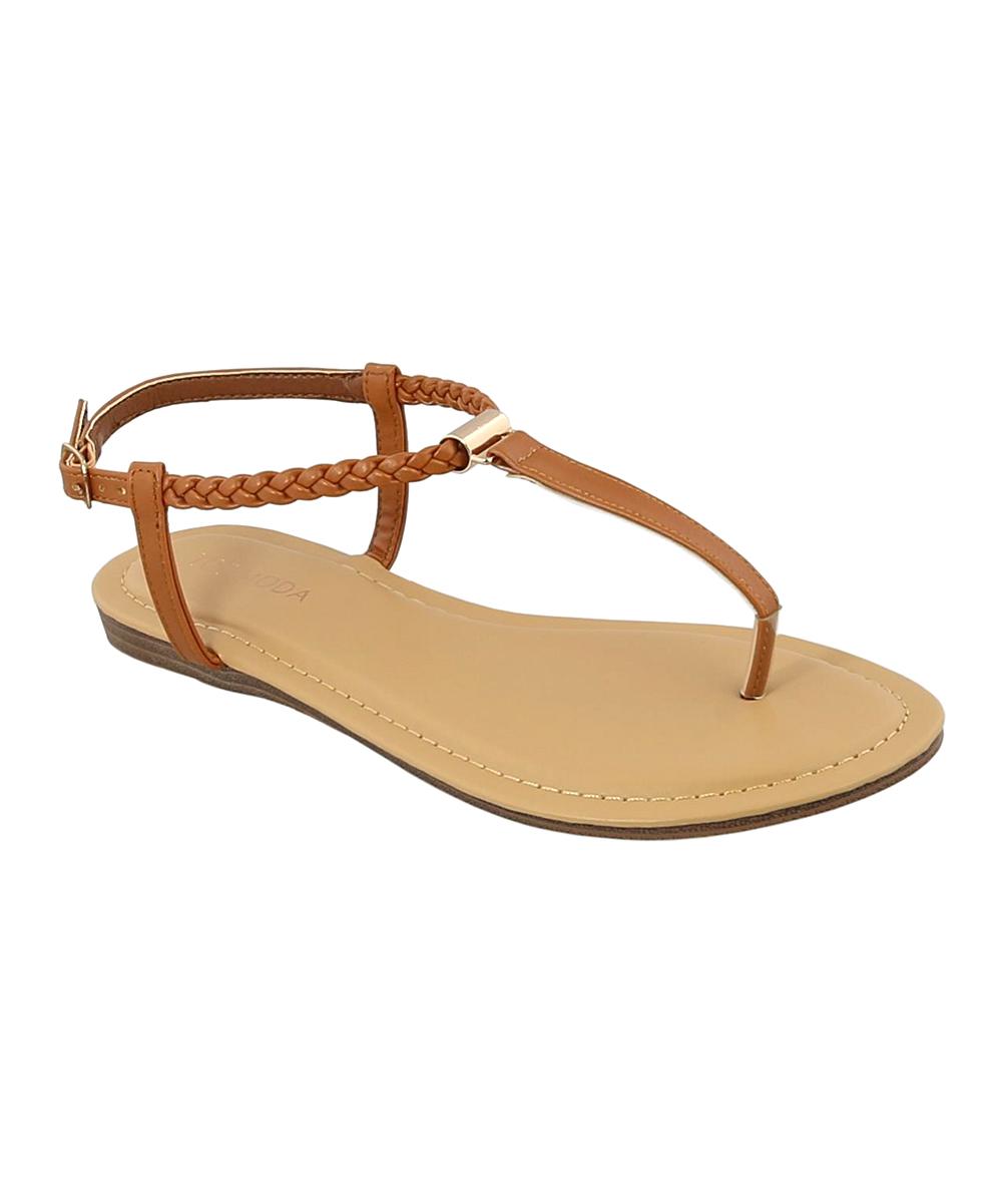 82b5636aefe TOP MODA Tan Braided-Strap Gardenia Sandal - Women