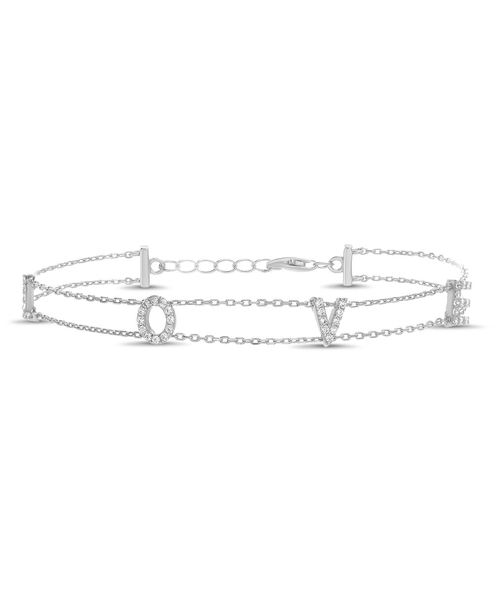 9436647f77be7 Beloved & Inspired Cubic Zirconia & Sterling Silver 'Love' Charm Bracelet