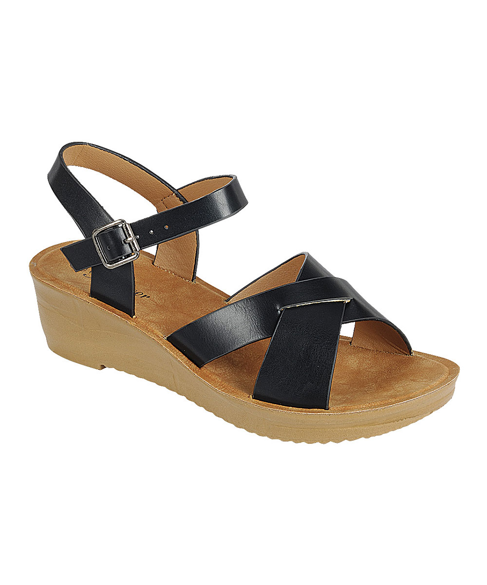 d9fbfd12eff love this product Black Cross-Strap Cozy Platform Sandal - Women