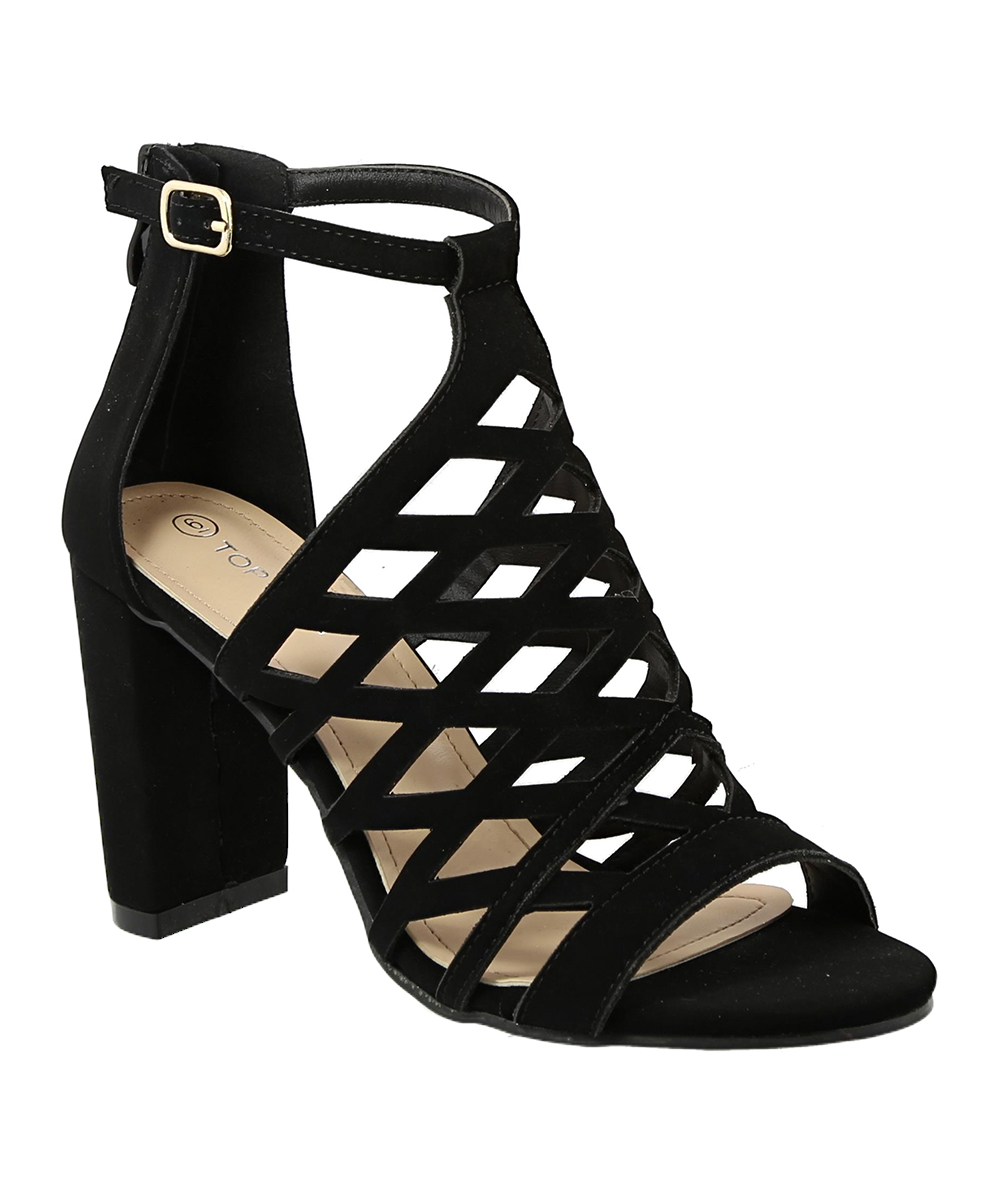 33ec9250d Black Lattice Cutout Kim Peep-Toe Sandal - Women