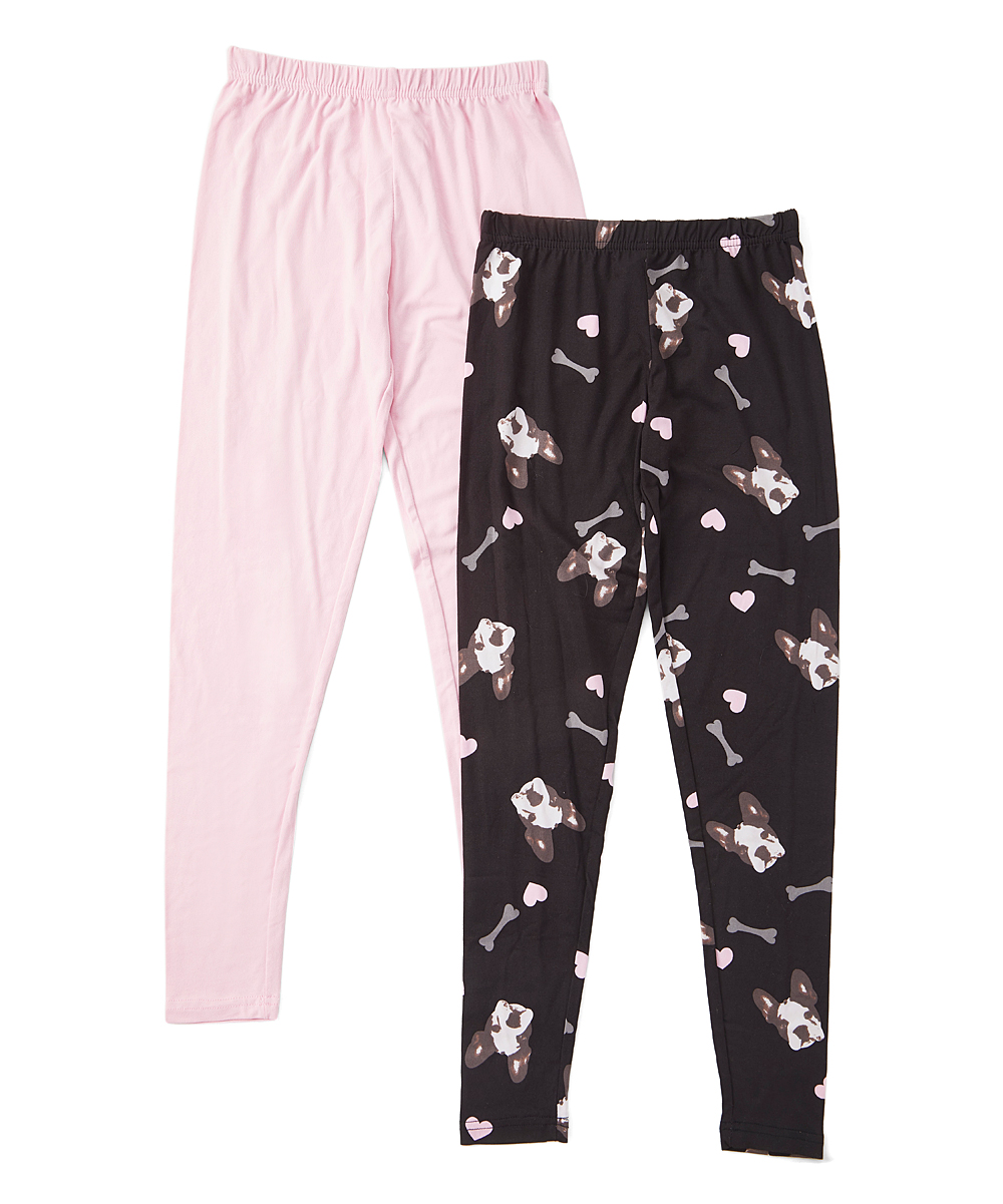 Say What Pink Black French Bulldog Leggings Set Girls Zulily
