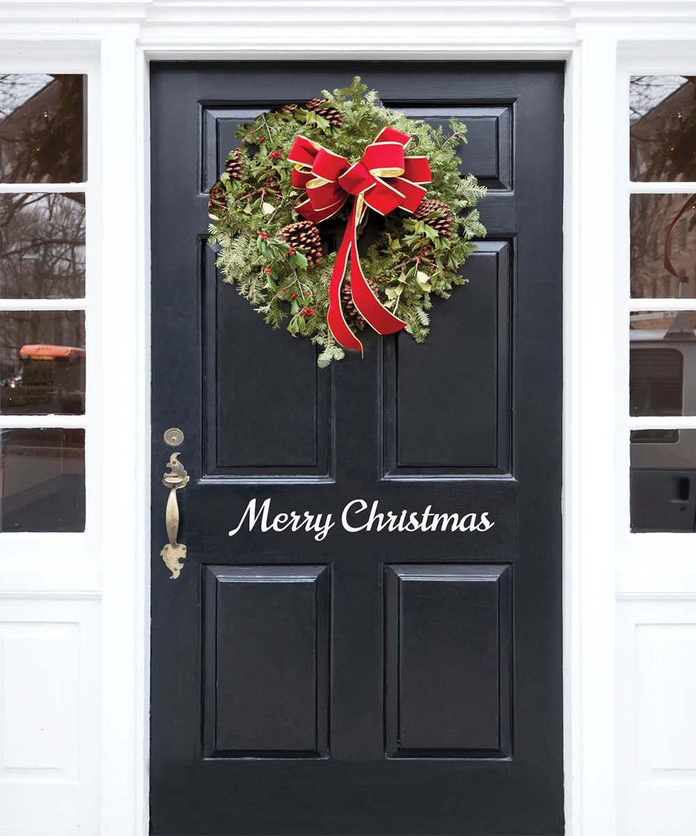 Christmas Door.Personalized Planet White Merry Christmas Door Decal