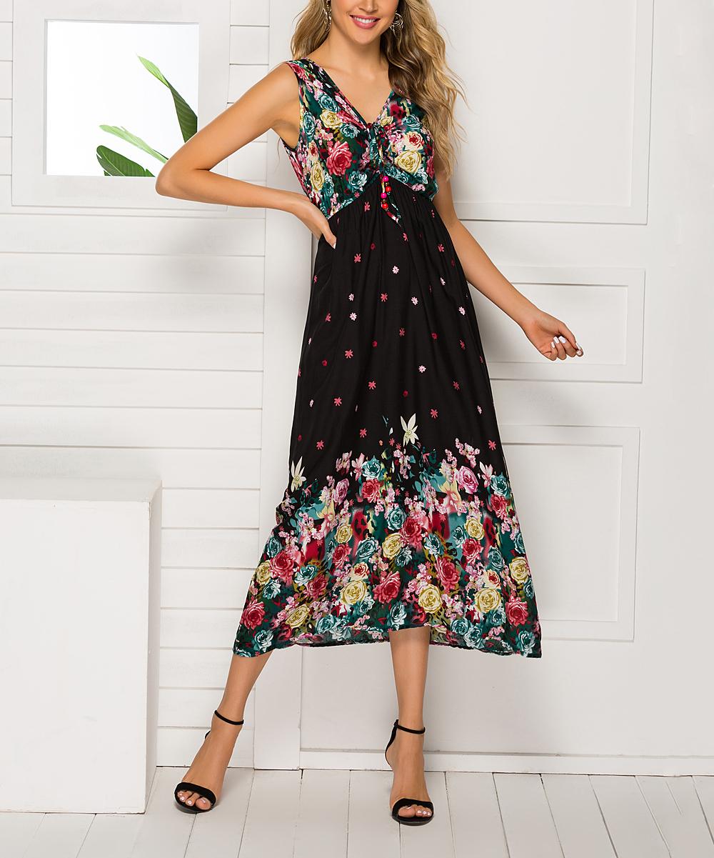 216f24f6b5d Black Floral Tassel-Front Empire-Waist Dress - Women & Plus - Sucrefas