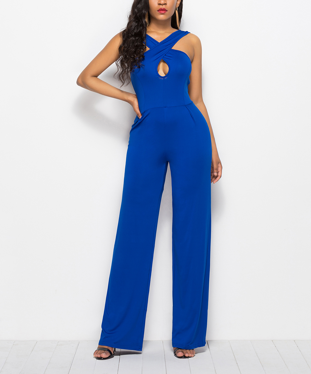 89b423d30 Blue Crisscross Jumpsuit - Women - Luna tuccini -Rompers   jumpsuits -  Zulily