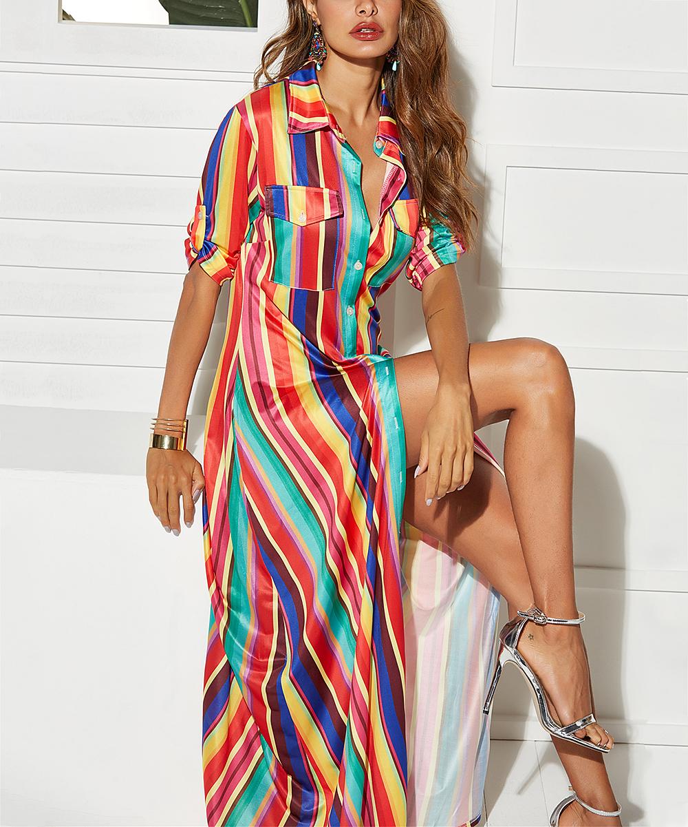d3ed46625460 Jewel-Tone Stripe Button-Front Maxi Dress - Women
