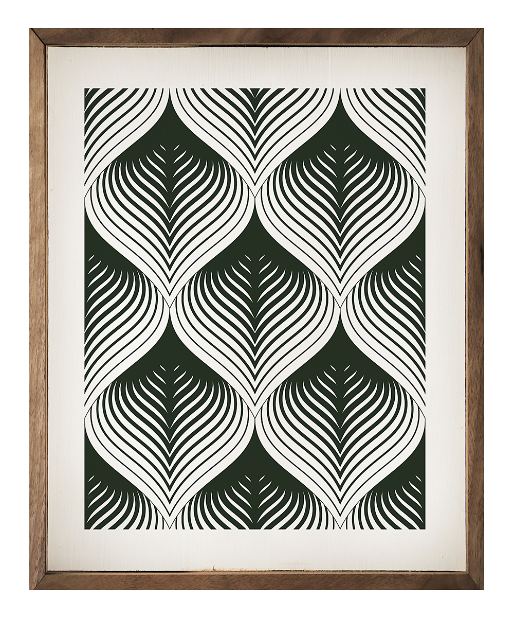 Kendrick Home Black White Geometric Wood Wall Art