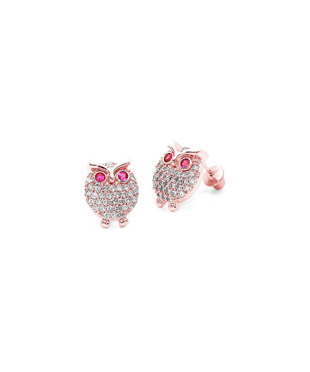 Lovearing Cubic Zirconia Sterling Silver Owl Stud Earrings