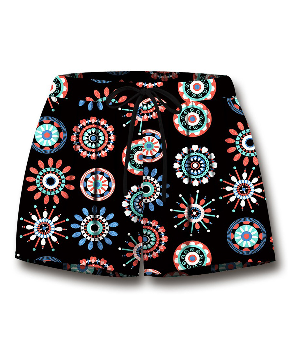 797056832e1ce Black   Coral Abstract Drawstring Shorts - Women   Plus