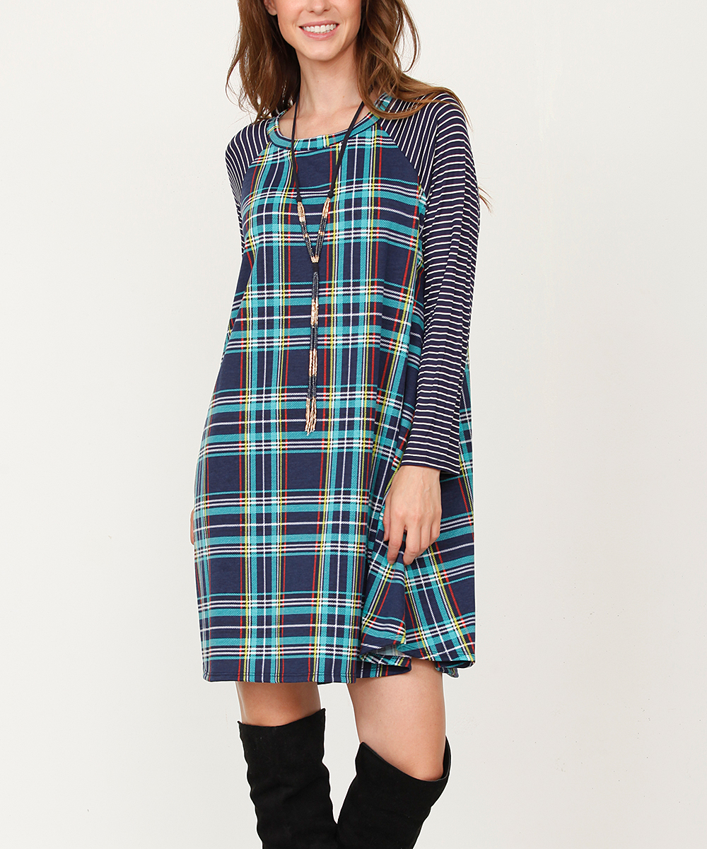 egs by éloges Teal & Navy Plaid Stripe Long-Sleeve Shift Dress - Plus