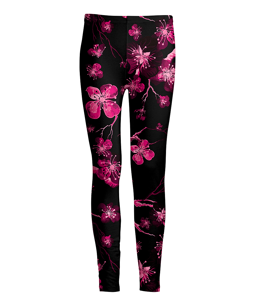 105624a129 love this product Black & Pink Cherry Blossoms Leggings - Women & Plus