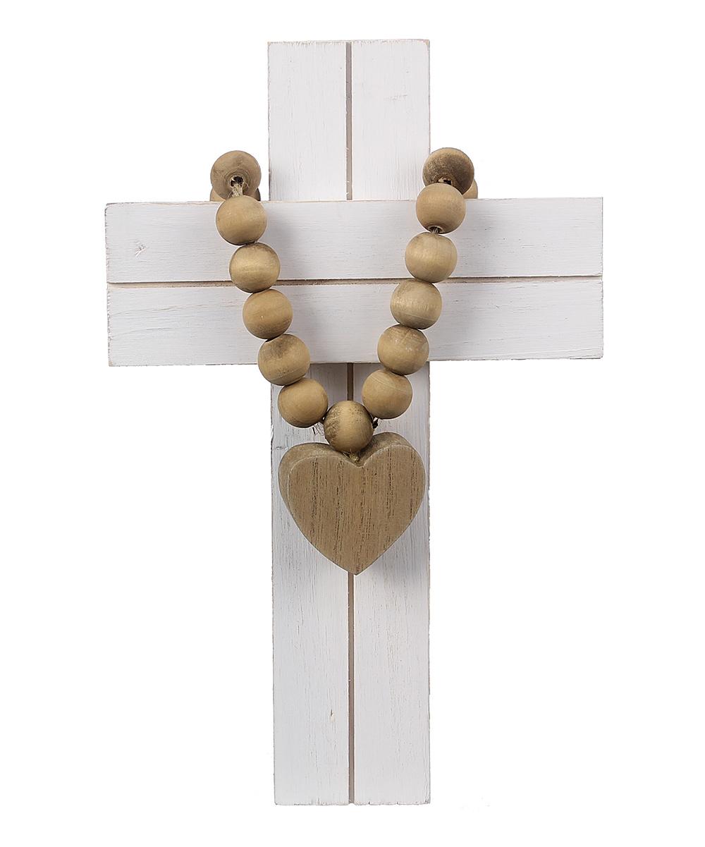 White Beaded Heart Wooden Cross Wall Art
