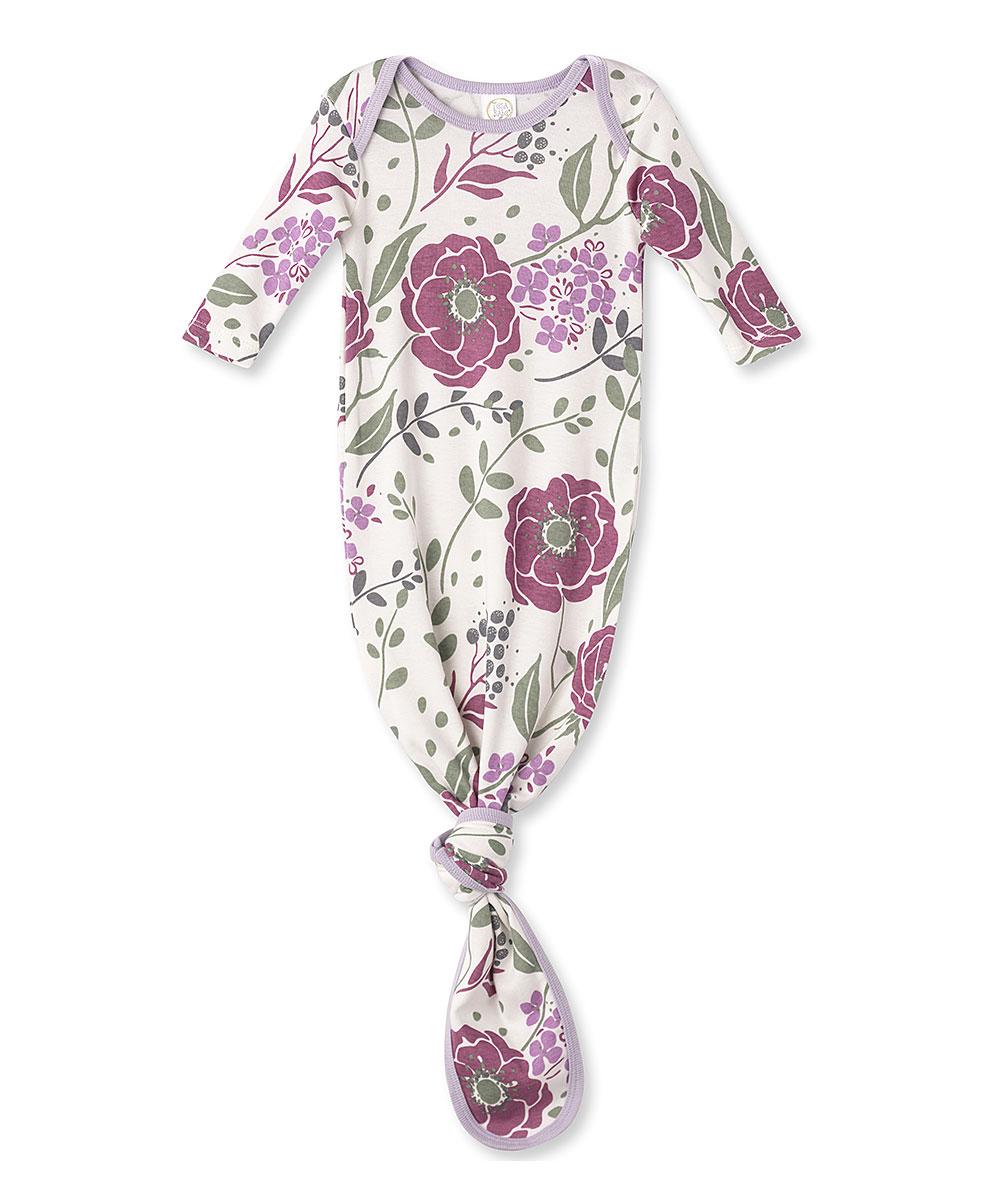2fa3556fe0cea Tesa Babe Bordeaux Wild Roses Knot Gown - Newborn & Infant