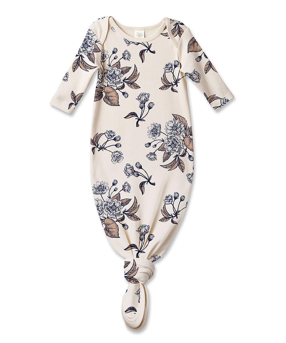 aa07ec11c21ed Tesa Babe Ivory & Blue Floral Knot Gown - Newborn & Infant