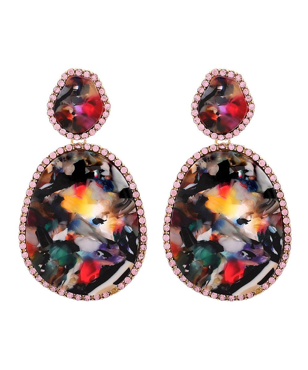 2a4848d47c149 Amrita Singh Rainbow & Crystal Oval Drop Earrings