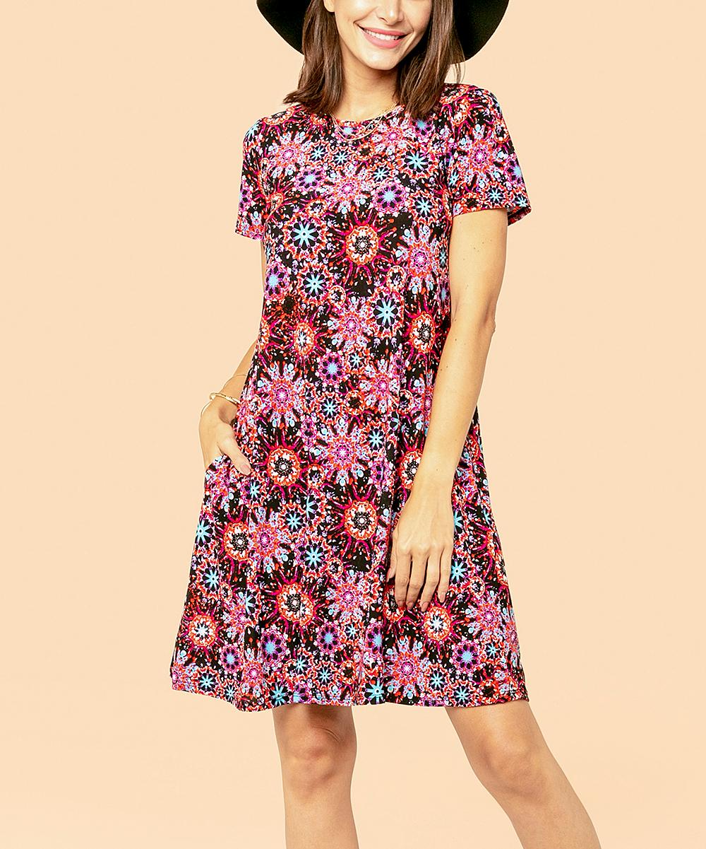 db3ea56f9c8d Wine & Pink Floral Pocket Tunic Dress - Women & Plus - R.U.B.Z - Zulily