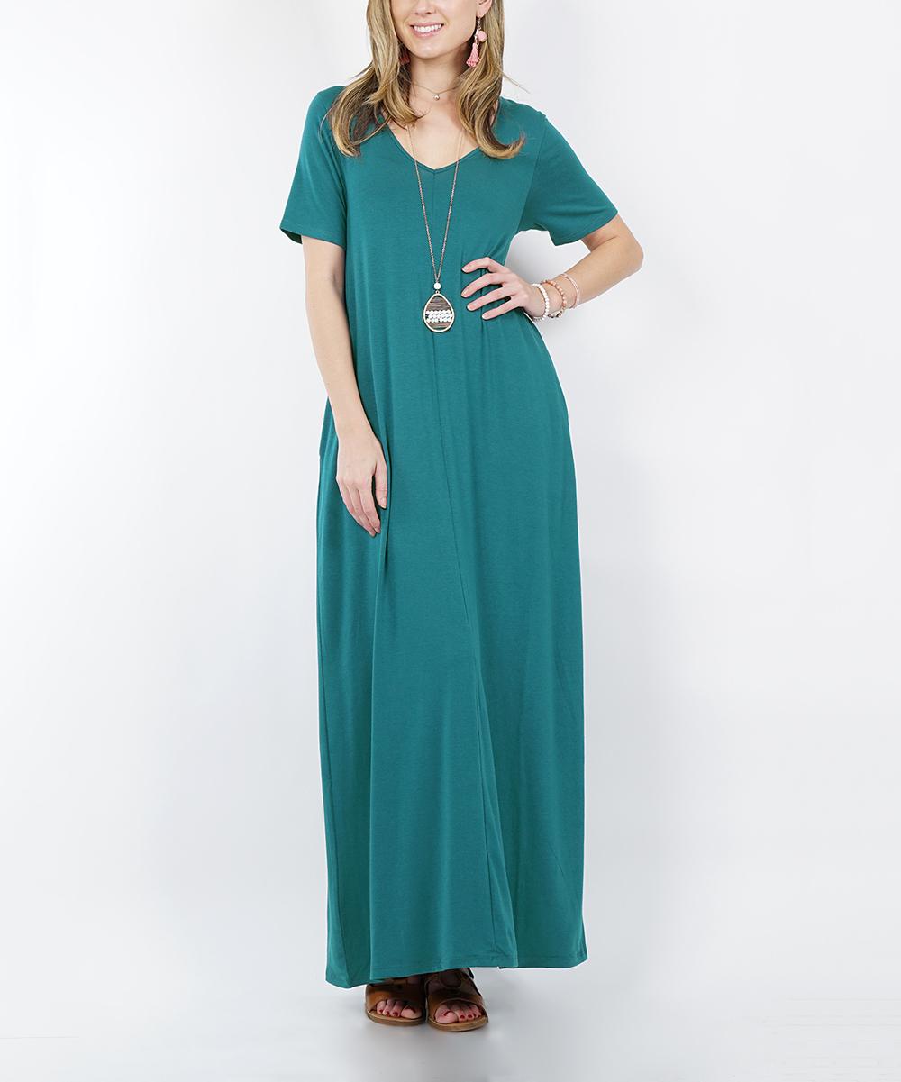 9c98c5040222 love this product Dusty Teal V-Neck Short-Sleeve Pocket Maxi Dress - Women  & Plus