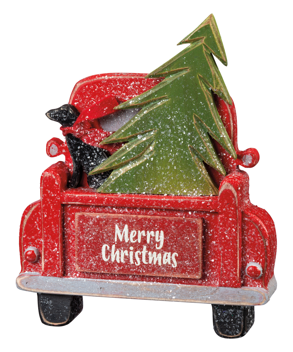 Primitives By Kathy Red Merry Christmas Truck Decor