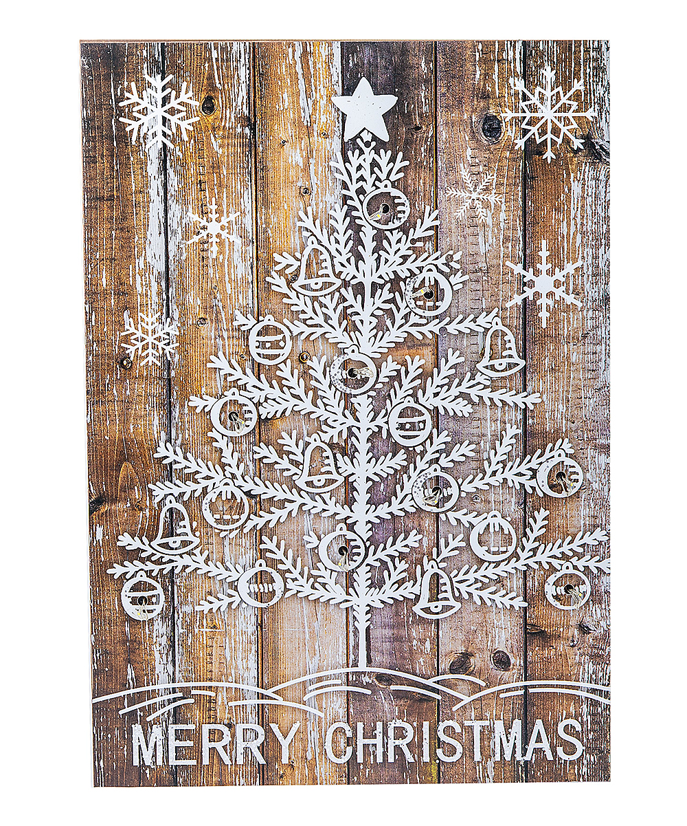 Ganz Beige Silvertone Merry Christmas Tree Light Up Wall Art