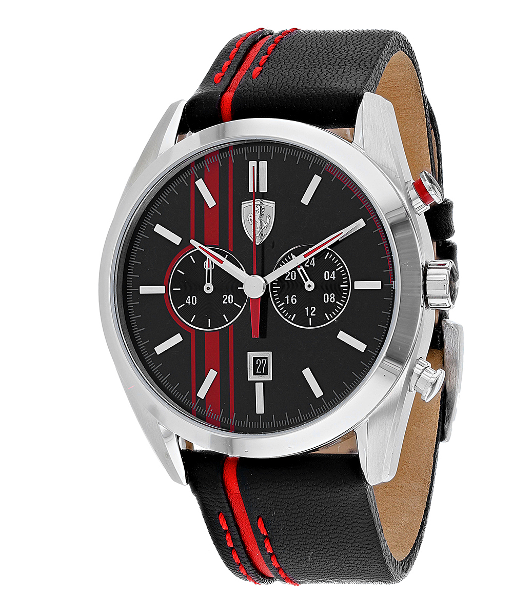dd6ebfcd Armani Exchange Black & Red D50 Leather-Strap Watch