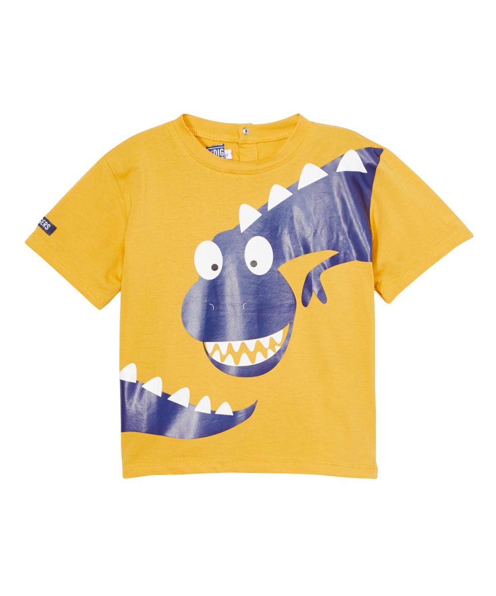 Lil Diggers Brown & Blue Wrap-Around Dinosaur Crewneck Tee - Infant &  Toddler