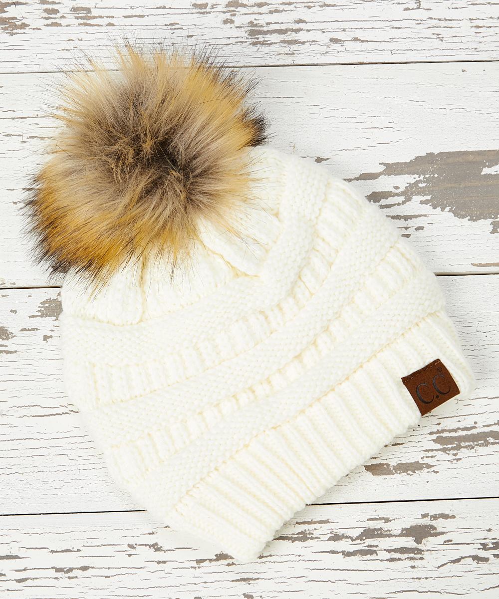 f97b41088 C.C® Ivory Knit Faux Fur Pom-Pom Beanie - Women