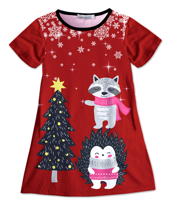 Sunshine Swing Red Black Christmas Tree Snowflakes Shift Dress Girls