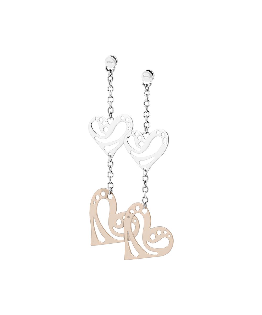 bb63c6aada7dc Brosway Rose-Gold Plated Stainless Steel Open Heart Drop Earrings