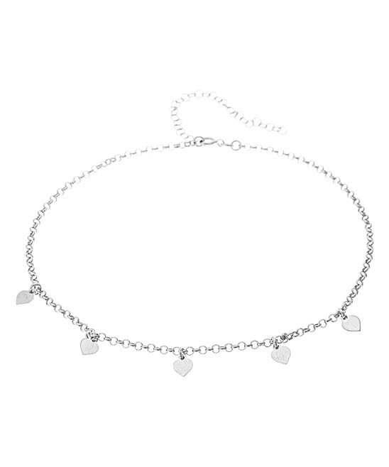 d612e7b7bd485 Sevil 925 Sterling Silver Heart Charm Choker Necklace